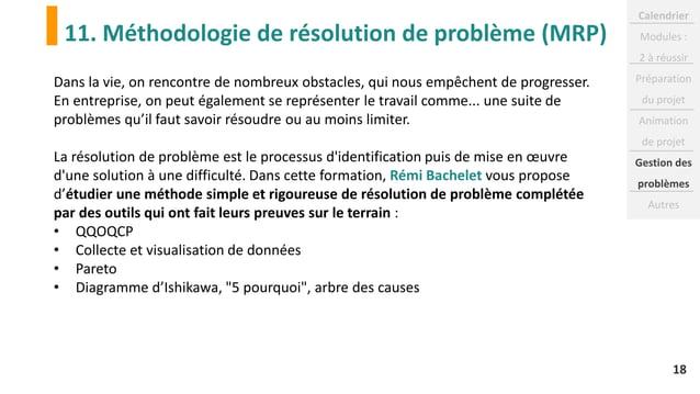 11. Méthodologie de résolution de problème (MRP) 18 Dans la vie, on rencontre de nombreux obstacles, qui nous empêchent de...