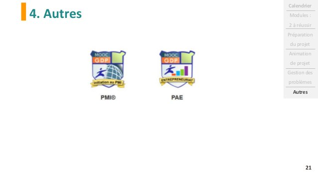4. Autres Calendrier Modules : 2 à réussir Préparation du projet Animation de projet Gestion des problèmes Autres 21