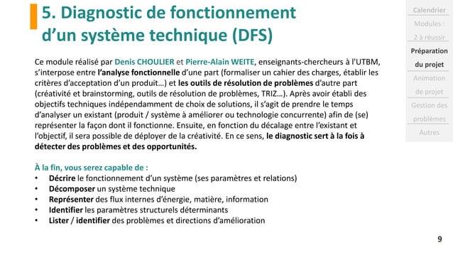 5. Diagnostic de fonctionnement d'un système technique (DFS) 9 Ce module réalisé par Denis CHOULIER et Pierre-Alain WEITE,...