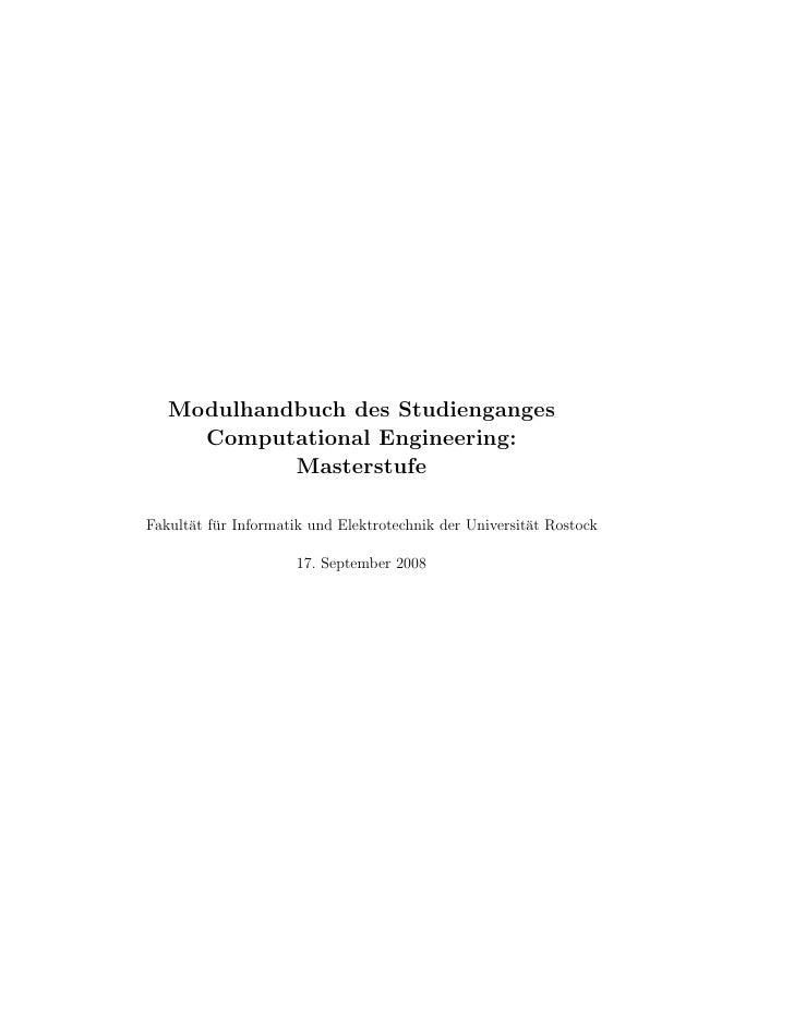 Modulhandbuch des Studienganges      Computational Engineering:             Masterstufe  Fakult¨t f¨r Informatik und Elekt...