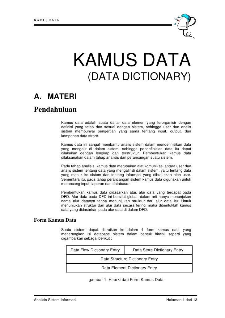 KAMUS DATA                       KAMUS DATA                               (DATA DICTIONARY)A. MATERIPendahuluan           ...