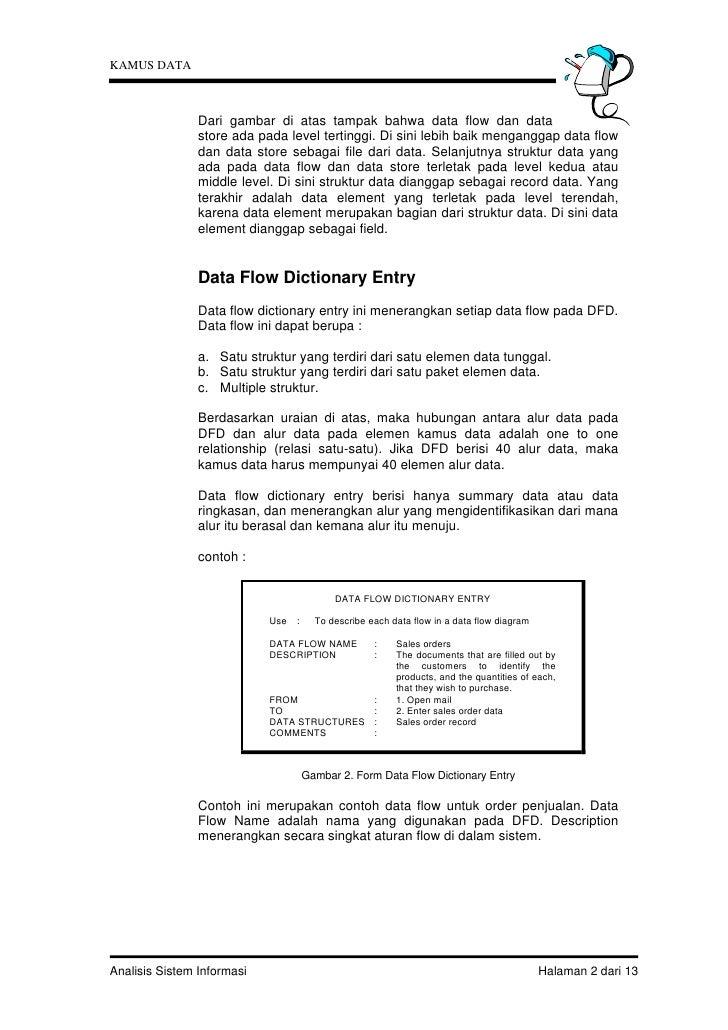 KAMUS DATA                Dari gambar di atas tampak bahwa data flow dan data                store ada pada level tertingg...