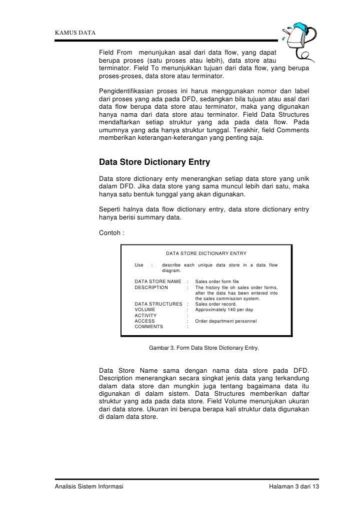 KAMUS DATA                Field From menunjukan asal dari data flow, yang dapat                berupa proses (satu proses ...