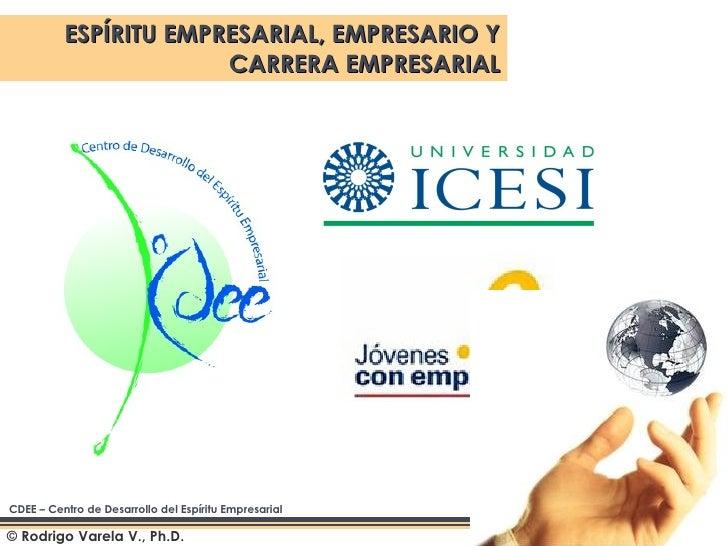 © Rodrigo Varela V., Ph.D.  ESPÍRITU EMPRESARIAL, EMPRESARIO Y CARRERA EMPRESARIAL CDEE – Centro de Desarrollo del Espírit...