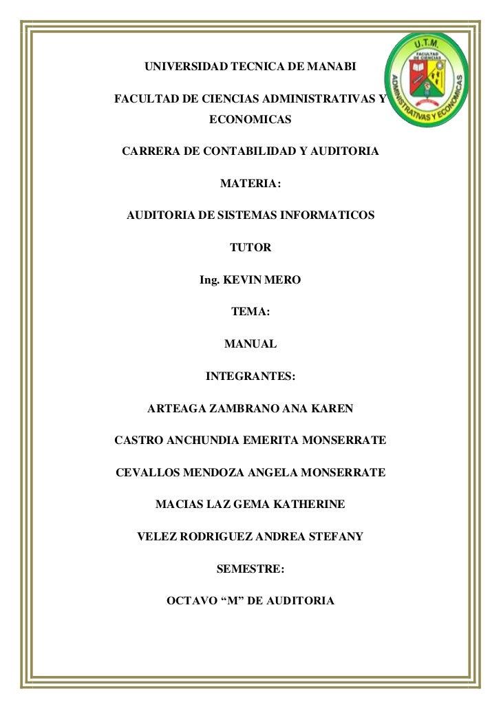 UNIVERSIDAD TECNICA DE MANABIFACULTAD DE CIENCIAS ADMINISTRATIVAS Y             ECONOMICAS CARRERA DE CONTABILIDAD Y AUDIT...