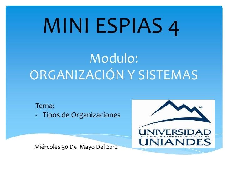 MINI ESPIAS 4       Modulo:ORGANIZACIÓN Y SISTEMASTema:- Tipos de OrganizacionesMiércoles 30 De Mayo Del 2012