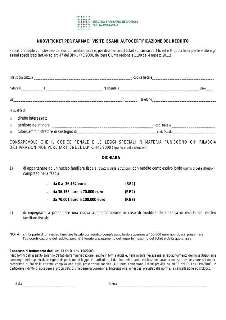 Modulo autocertificazione reddito for Autocertificazione iva 10