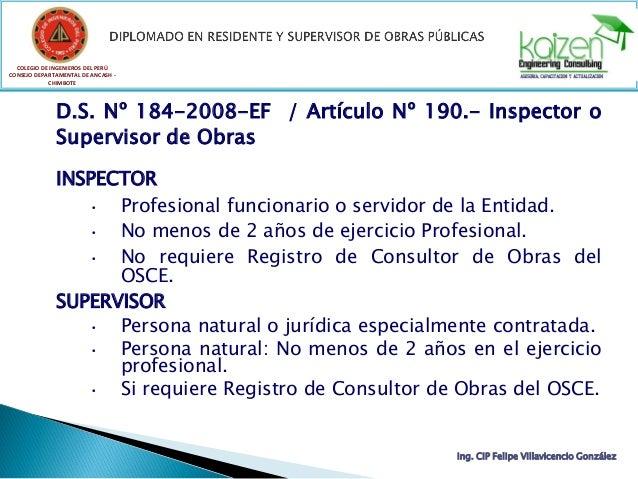 COLEGIO DE INGENIEROS DEL PERÚ CONSEJO DEPARTAMENTAL DE ANCASH - CHIMBOTE D.S. Nº 184-2008-EF / Artículo Nº 190.- Inspecto...
