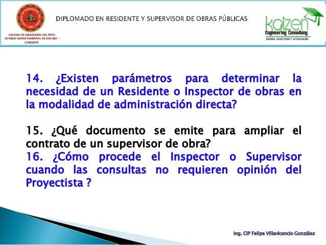 COLEGIO DE INGENIEROS DEL PERÚ CONSEJO DEPARTAMENTAL DE ANCASH - CHIMBOTE Ing. CIP Felipe Villavicencio González 14. ¿Exis...