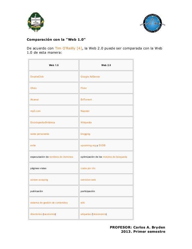 """Comparación con la """"Web 1.0""""De acuerdo con Tim OReilly [4], la Web 2.0 puede ser comparada con la Web1.0 de esta manera:We..."""