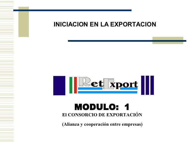INICIACION EN LA EXPORTACION  <ul><li>MODULO:  1 </li></ul><ul><li>El CONSORCIO DE EXPORTACIÓN </li></ul><ul><li>(Alianza ...