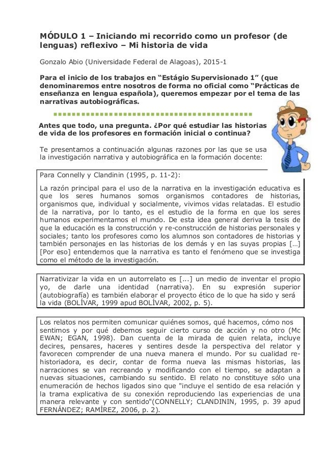 MÓDULO 1 – Iniciando mi recorrido como un profesor (de lenguas) reflexivo – Mi historia de vida Gonzalo Abio (Universidade...