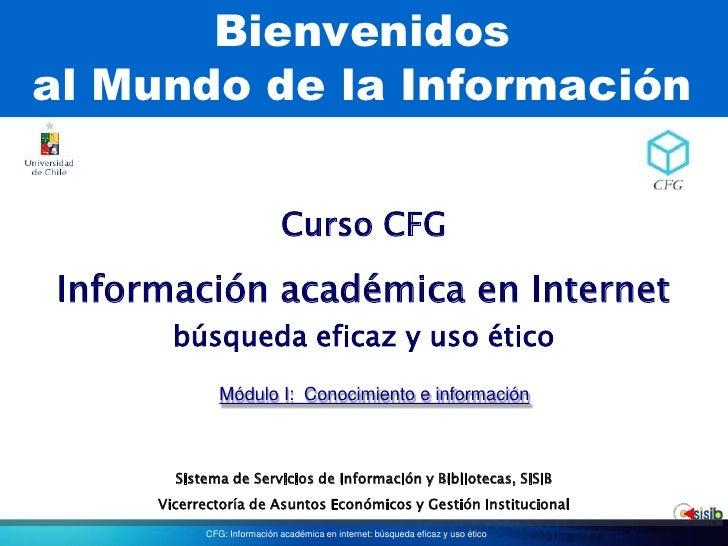 Bienvenidosal Mundo de la Información<br />Curso CFG<br />Información académica en Internetbúsqueda eficaz y uso ético<br ...