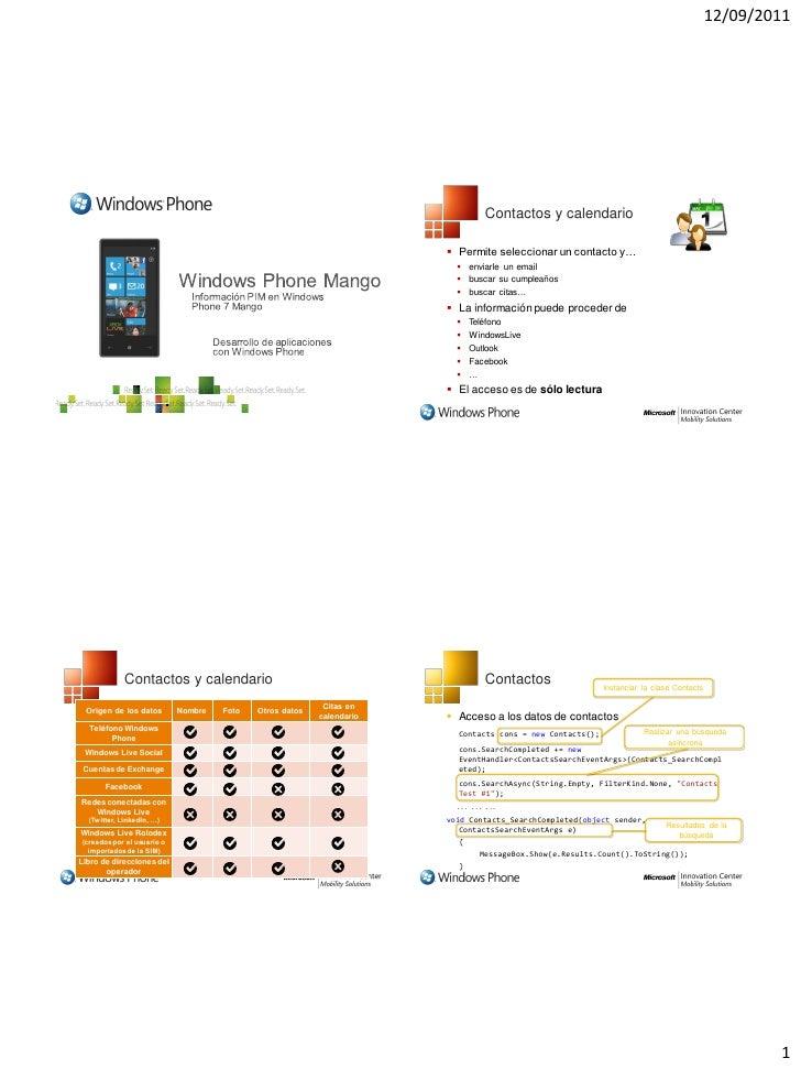 12/09/2011                                                                                Contactos y calendario          ...