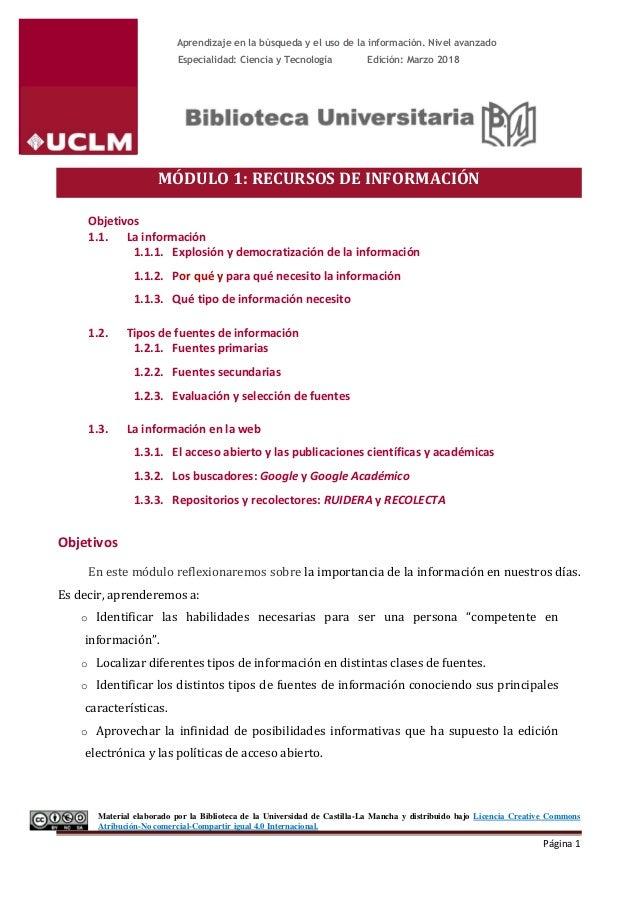 Aprendizaje en la búsqueda y el uso de la información. Nivel avanzado Especialidad: Ciencia y Tecnología Edición: Marzo 20...