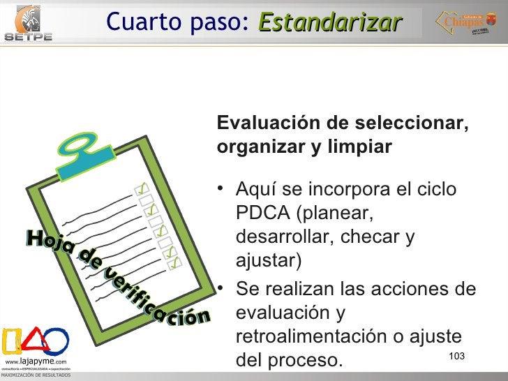 Evaluación de seleccionar, organizar y limpiar <ul><li>Aquí se incorpora el ciclo PDCA (planear, desarrollar, checar y aju...