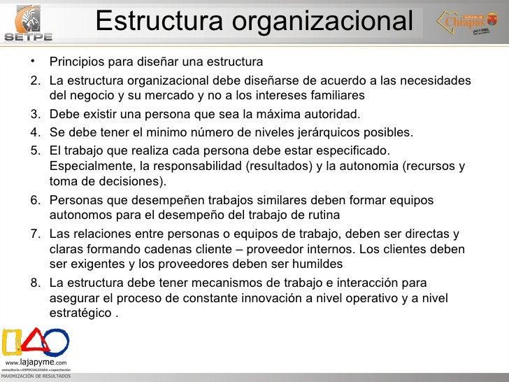 Estructura organizacional <ul><li>Principios para diseñar una estructura </li></ul><ul><li>La estructura organizacional de...
