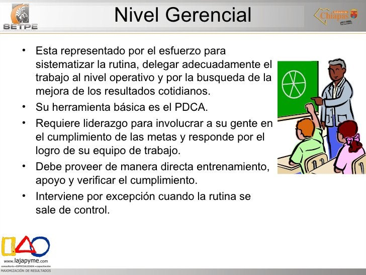Nivel Gerencial <ul><li>Esta representado por el esfuerzo para sistematizar la rutina, delegar adecuadamente el trabajo al...