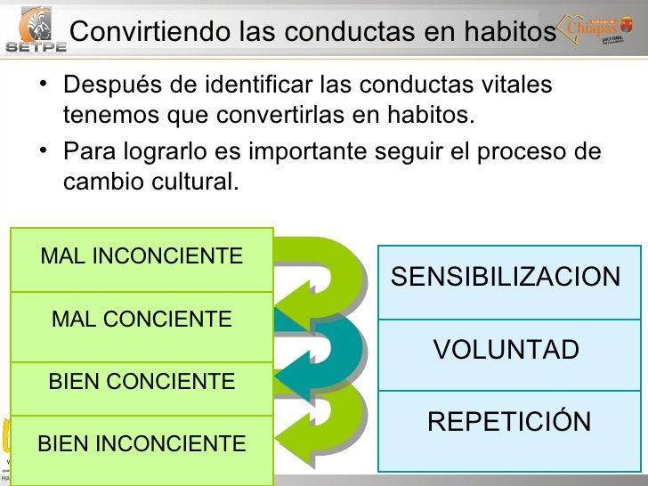 Convirtiendo las conductas en habitos <ul><li>Después de identificar las conductas vitales tenemos que convertirlas en hab...