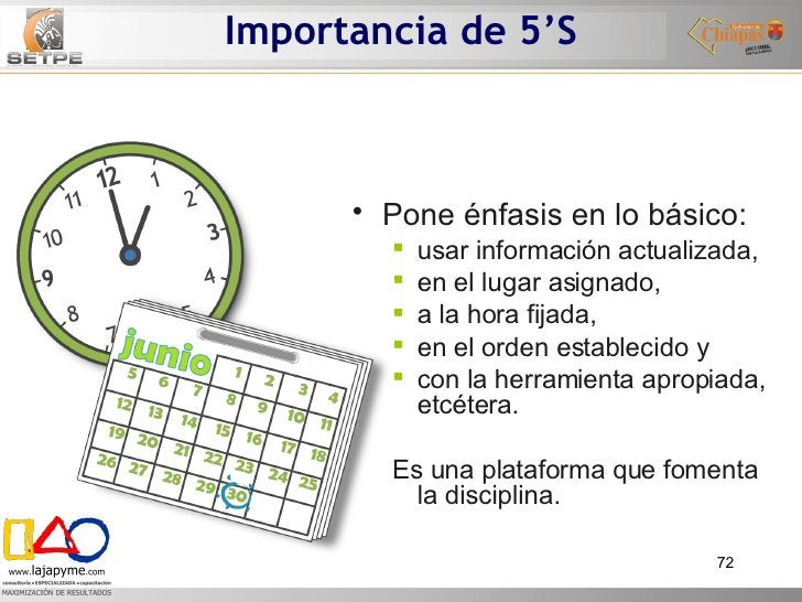 Importancia de 5'S <ul><li>Pone énfasis en lo básico:   </li></ul><ul><ul><li>usar información actualizada,  </li></ul></u...