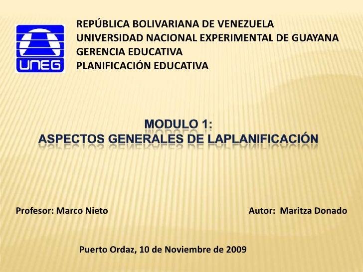 REPÚBLICA BOLIVARIANA DE VENEZUELA              UNIVERSIDAD NACIONAL EXPERIMENTAL DE GUAYANA              GERENCIA EDUCATI...