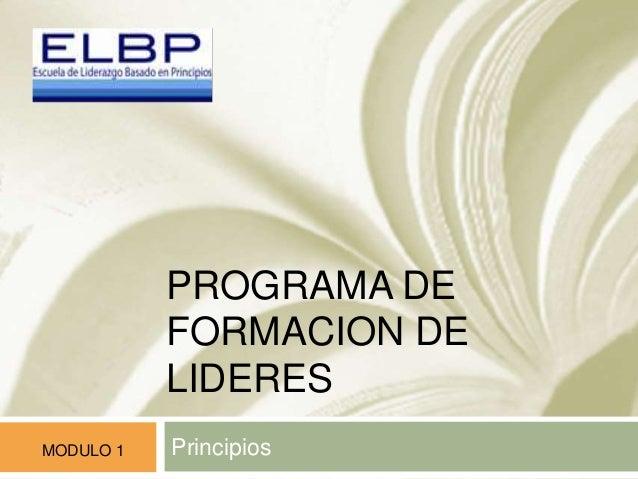PROGRAMA DE FORMACION DE LIDERES PrincipiosMODULO 1
