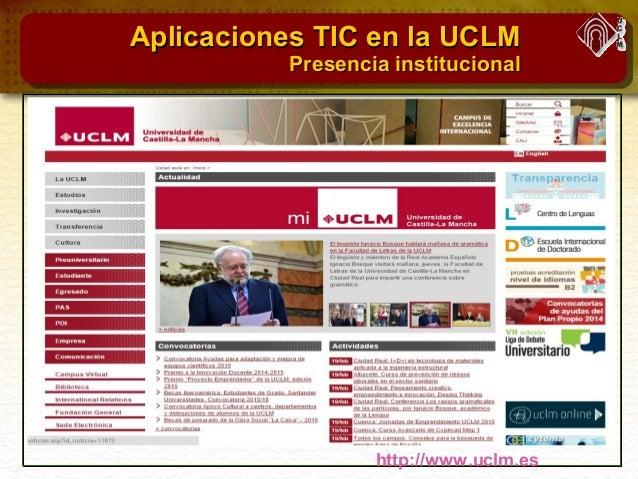Aplicaciones TIC en la UCLMAplicaciones TIC en la UCLM Plataforma DocenciaPlataforma Docencia