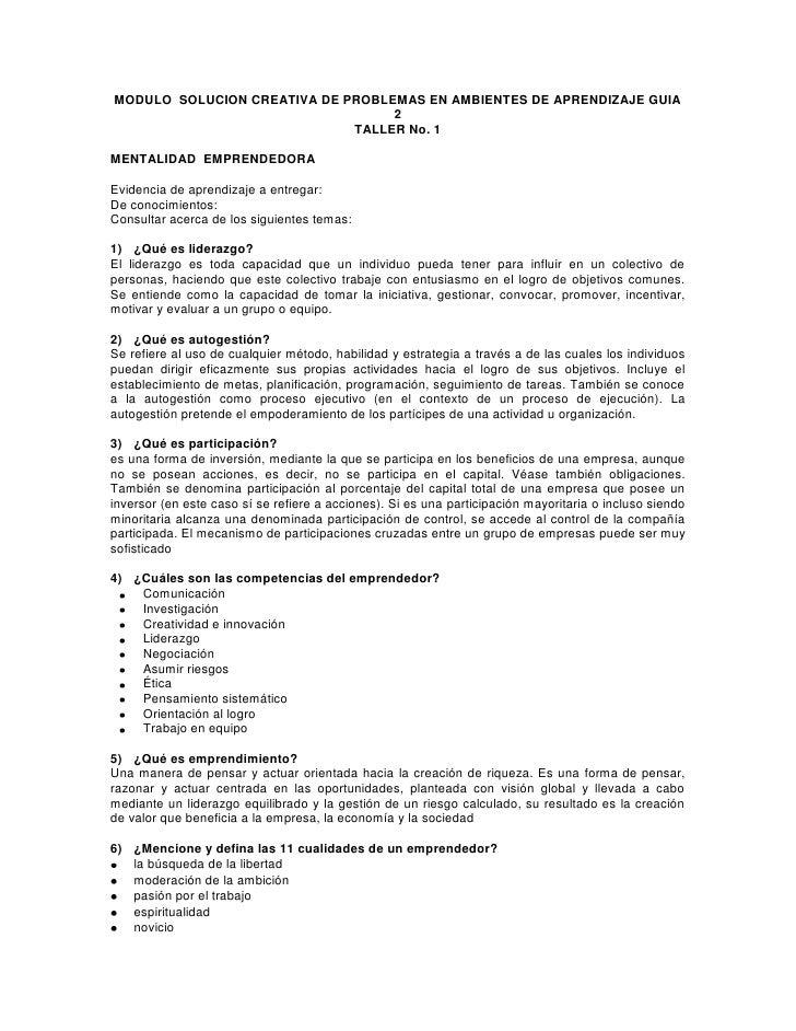 MODULO  SOLUCION CREATIVA DE PROBLEMAS EN AMBIENTES DE APRENDIZAJE GUIA 2<br />TALLER No. 1<br />MENTALIDAD  EMPRENDEDORA<...