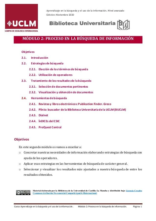Curso online: Aprendizaje en la búsqueda y el uso de la información. Nivel avanzado Noviembre 201 Edición: Noviembre 2020 ...