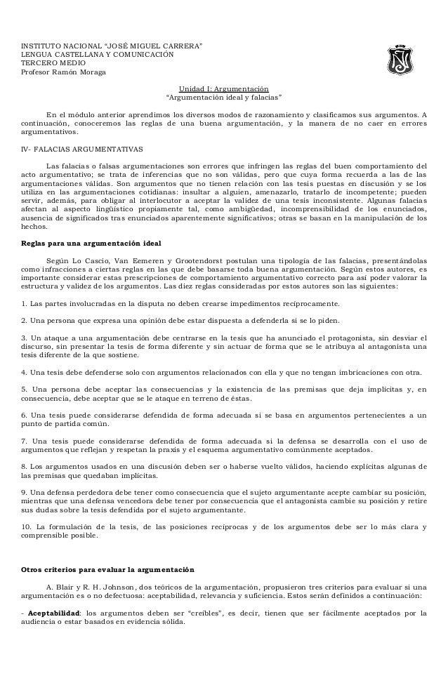"""INSTITUTO NACIONAL """"JOSÉ MIGUEL CARRERA""""LENGUA CASTELLANA Y COMUNICACIÓNTERCERO MEDIOProfesor Ramón Moraga                ..."""