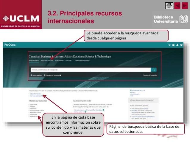 3.2. Principales recursos internacionales Se puede acceder a la búsqueda avanzada desde cualquier página. Página de búsque...