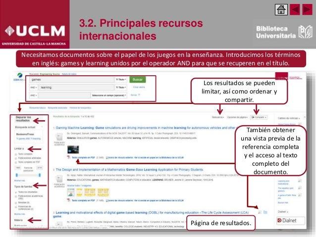 3.2. Principales recursos internacionales Los resultados se pueden limitar, así como ordenar y compartir. También obtener ...