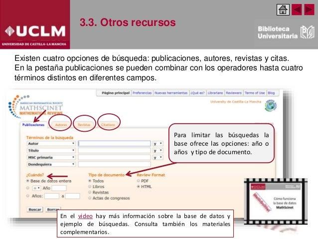 3.3. Otros recursos Existen cuatro opciones de búsqueda: publicaciones, autores, revistas y citas. En la pestaña publicaci...