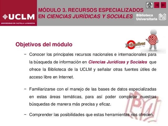 Modulo 3. Recursos especializados en Ciencias Jurídicas y Sociales. (Edición: Noviembre 2020) Slide 3