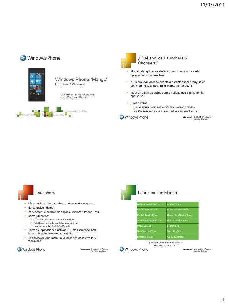 11/07/2011                                                                   ¿Qué son los Launchers &                     ...