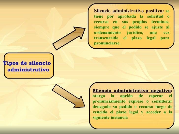 Silencio administrativo positivo: se                    tiene por aprobada la solicitud o                    recurso en su...