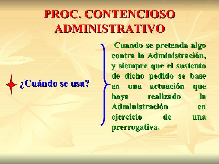 PROC. CONTENCIOSO      ADMINISTRATIVO                   Cuando se pretenda algo                  contra la Administración,...