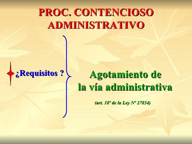 PROC. CONTENCIOSO       ADMINISTRATIVO¿Requisitos ?      Agotamiento de                la vía administrativa              ...