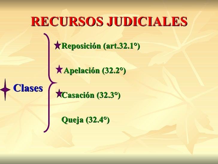 RECURSOS JUDICIALES         Reposición (art.32.1°)         Apelación (32.2°)Clases         Casación (32.3°)         Queja ...