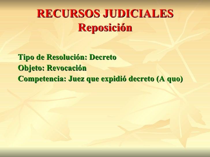 RECURSOS JUDICIALES          ReposiciónTipo de Resolución: DecretoObjeto: RevocaciónCompetencia: Juez que expidió decreto ...