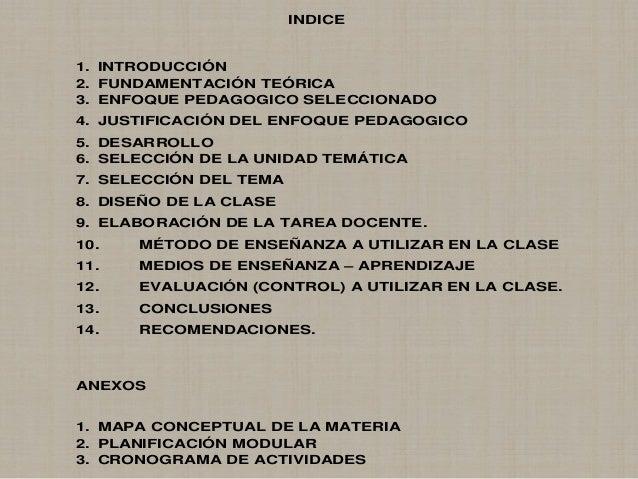 INDICE 1. INTRODUCCIÓN 2. FUNDAMENTACIÓN TEÓRICA 3. ENFOQUE PEDAGOGICO SELECCIONADO 4. JUSTIFICACIÓN DEL ENFOQUE PEDAGOGIC...