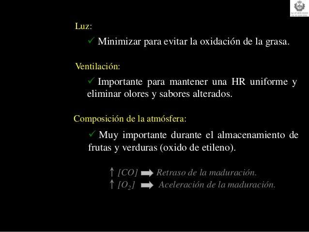 Luz:    Minimizar para evitar la oxidación de la grasa.Ventilación:    Importante para mantener una HR uniforme y   elim...