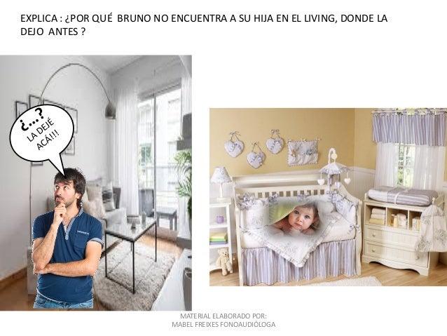 MATERIAL ELABORADO POR: MABEL FREIXES FONOAUDIÓLOGA EXPLICA : ¿POR QUÉ BRUNO NO ENCUENTRA A SU HIJA EN EL LIVING, DONDE LA...