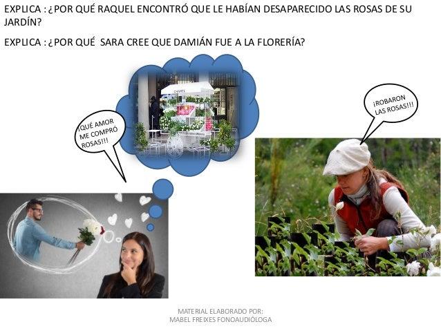 MATERIAL ELABORADO POR: MABEL FREIXES FONOAUDIÓLOGA EXPLICA : ¿POR QUÉ RAQUEL ENCONTRÓ QUE LE HABÍAN DESAPARECIDO LAS ROSA...