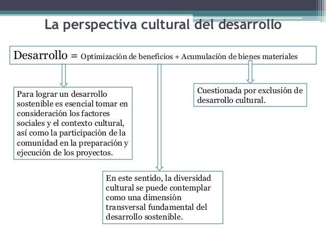 La perspectiva cultural del desarrollo  Desarrollo = Optimización de beneficios + Acumulación de bienes materiales  Cuesti...