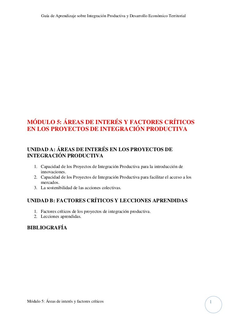Guía de Aprendizaje sobre Integración Productiva y Desarrollo Económico TerritorialMÓDULO 5: ÁREAS DE INTERÉS Y FACTORES C...