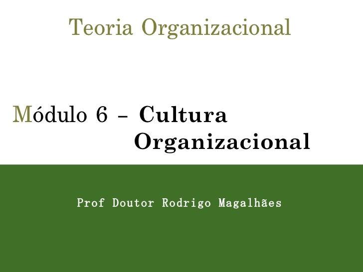 Teoria Organizacional M ódulo 6 –  Cultura Organizacional Prof Doutor Rodrigo Magalhães