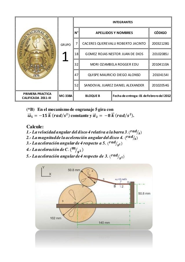 (*B) En el mecanismo de engranaje 5 gira con 𝝎⃗⃗⃗ 𝟓 = −𝟏𝟓 𝒌⃗⃗ ( 𝒓𝒂𝒅 𝒔 𝟐⁄ ) constante y 𝜶⃗⃗ 𝟐 = −𝟖 𝒌⃗⃗ ( 𝒓𝒂𝒅 𝒔 𝟐⁄ ). Calcul...
