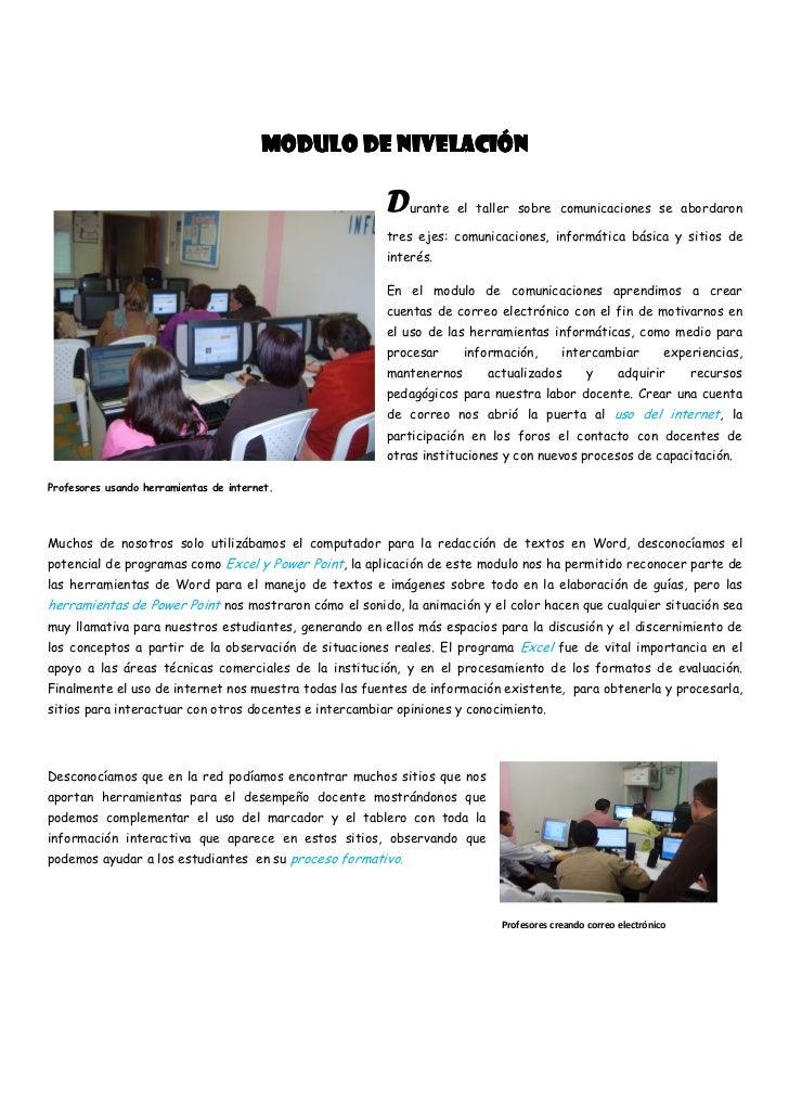 MODULO DE NIVELACIÓN                                                        D   urante el taller sobre comunicaciones se a...