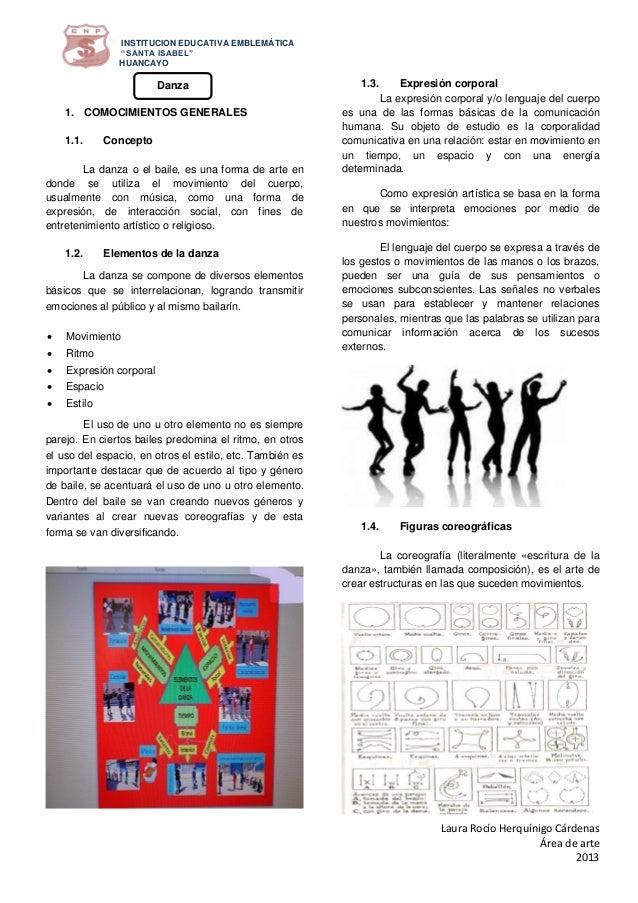 """INSTITUCION EDUCATIVA EMBLEMÁTICA """"SANTA ISABEL"""" HUANCAYO  Danza 1. COMOCIMIENTOS GENERALES 1.1.  Concepto  La danza o el ..."""